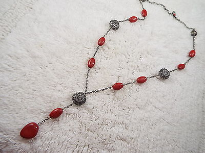 Silvertone Filigree & Red Bead Necklace (A47)