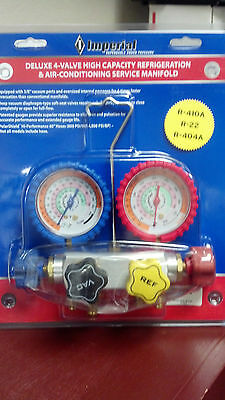Imperial Gauge Set, Deluxe 4-Valve High Capaity, R410A, R22 & R404A, MODEL 845C