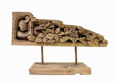 Chinese Vintage Wood Carved Floral Table Top Display Accent cs1386