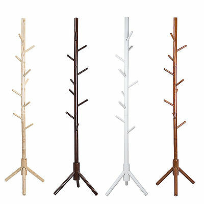 Tree Style Coat Stand 9 Hooks Multi Coat Hat Rack Bag Rack Tree Style Wooden