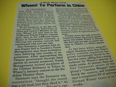WHAM! To Perform In China detailed original 1985 music biz promo trade story