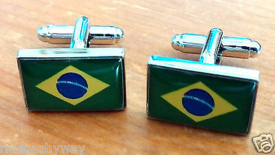 BRAZIL Flag Cuff Links World Cup 2014 Soccer Rio Olympic Games 2018 Russia Retro