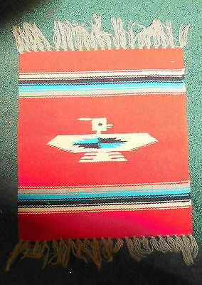 "Vintage antique American Indian throw rug with phoenix bird on it,18"" x 13 inch"