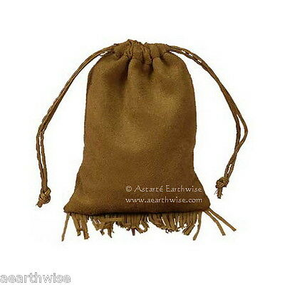 1 x LARGE FRINGED FAUX SUEDE BAG Wicca Pagan Witch Goth Vegan HERBS SPELLS