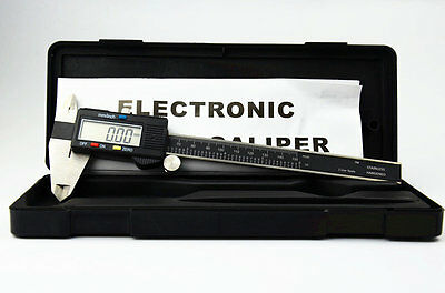 "Lcd Digital 6"" Inch Vernier Caliper Micrometer Guage Inbox Stainless Black Slide"