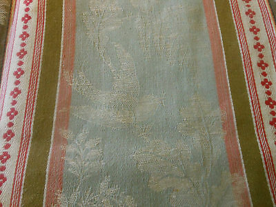 Antique French Early Floral Bird  Damask Ticking Fabric ~ Red Brown Soft Sage