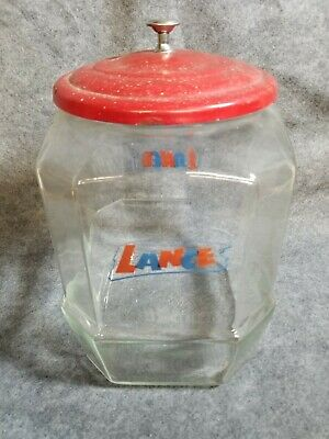 "VINTAGE TALL LANCE STORE COUNTER DISPLAY JAR 14"" TALL METAL LID crackers"