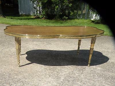 Vintage Hollywood Regency Wood & Brass Kidney Shaped Coffee Table Faux Burl Top