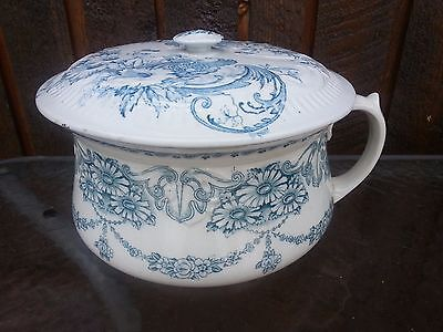Antique Semi Porcelain CHAMBER POT with Lid by W. Adams TRENT with Design