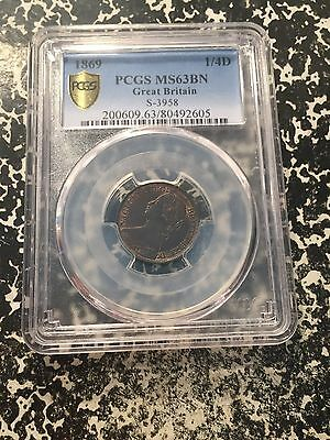 1869 Great Britain Farthing (1/4d) PCGS MS63 Brown Lot#G625 Scarce in UNC!