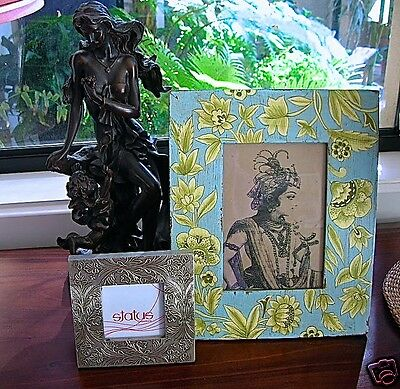 Bali Style Blue Wood Floral Photo Picture Frame Large Chic French Provinicial