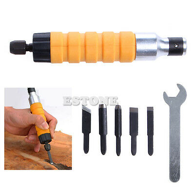 Electric Wood Carving Tool Hammer Chuck Attachment & 5 Chisels For Machine