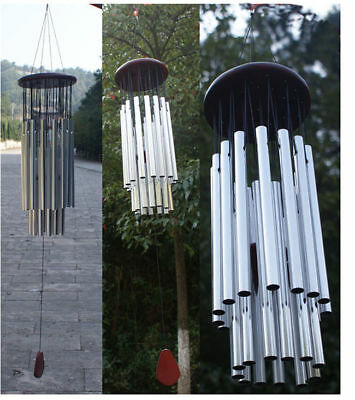 Silver 27 Tubes Redwood Wind Chime Church Bells Garden Charm Hanging Decor
