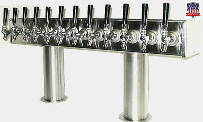 Stainless Steel Draft Beer Tower made in USA 12 Faucets GLYCOL READY - PTB-12SSG