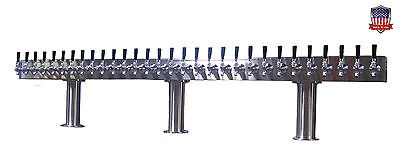 Stainless Steel Draft Beer Tower Made in USA 30 Faucets GLYCOL READY - PTB-30SSG