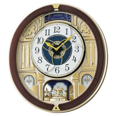 Seiko QXM356B Melody in Motion Wall Clock with Rotating Pendulum - Dark Brown