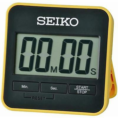 Seiko QHY001Y Digital Countdown Timer And Stopwatch with Folding Stand - Yellow