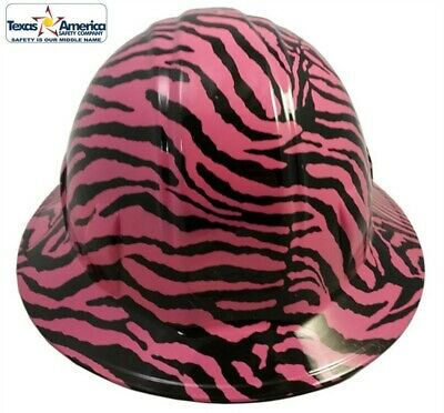 Hydro Dipped FULL BRIM Hard Hat with Ratchet Suspension- Pink Zebra