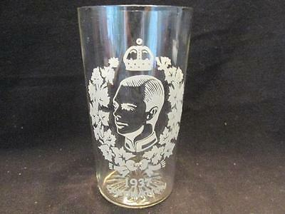 "Edward VIII Coronation 1937 Clear Glass 4 1/2"" Tumbler with White Detail"