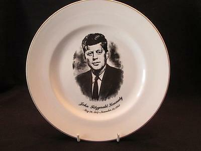 "John F Kennedy Gold Edged 9"" Memorial Plate Black Portrait 1917-1963"