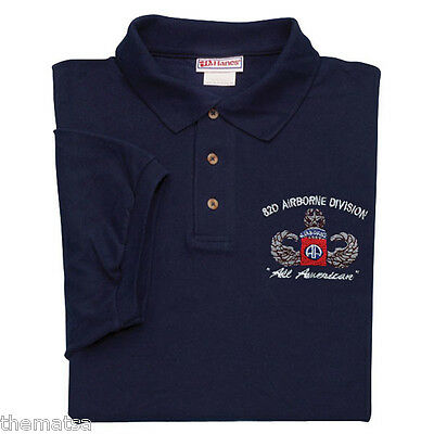 Army 82Nd Airborne All Americans Blue 100% Cotton Polo Shirt S M L Xl 2Xl 3Xl