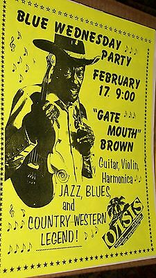 """""""Gate Mouth"""" Brown Show Flyer Oasis San Francisco 1988 Blue Wednesday Party"""