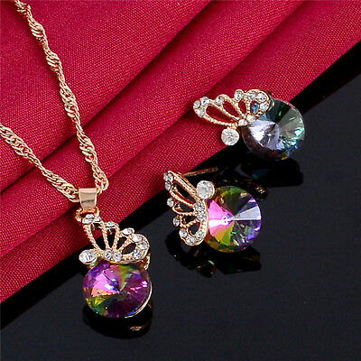 Charming 18K Gold Plated Rainbow Crystal Butterfly Necklace/Earrings Crystal Set