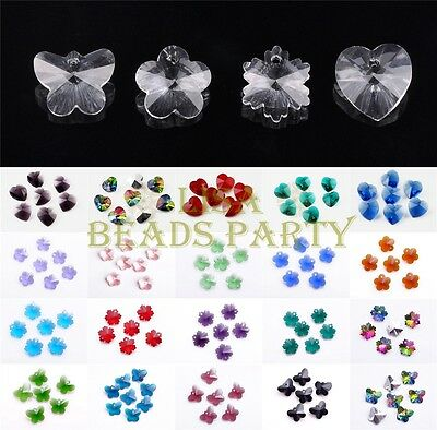 5~20pcs 14mm Assorted Shapes Faceted Crystal Glass Loose Hanging Pendants Beads