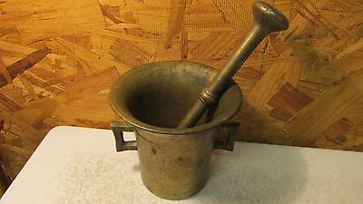 Antique Brass Mortar & Pestle Mid 1800's