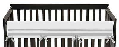 White Gray Hotel Front Rail Guard Baby Boy Girl Teething Cover Crib Protector