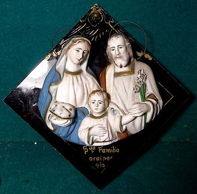 Old 1930s/40s TILE w/ CHALKWARE STATUE (BUST) - THE HOLY FAMILY