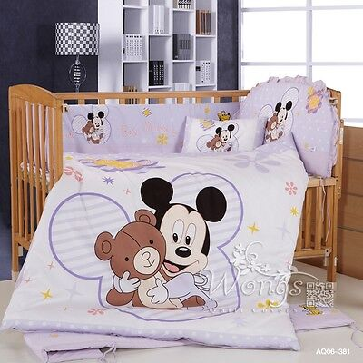 Mickey Mouse Crib Baby Cot Bed Linen Sets Nursery Bed Pillow Cases 6pcs Cotton