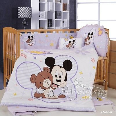 Mickey Mouse Crib Baby Cot Sets Bed Linen Pillow Cases Nursery Bedding Set 6pcs