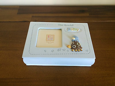 Baby Boy Blue Keepsake Box with Photo Top Newborn Gift