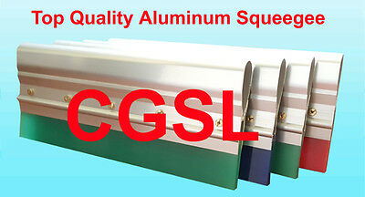 """4 x 12"""" Screen Printing Aluminum Handle complete w 75 Duro Green Squeegee Blade"""