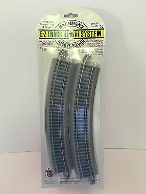 """Bachmann HO Gauge E-Z Track 44501 Nickel Silver 18"""" Radius Curved Track-4 Pieces"""