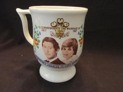 HRH Prince Charles & Lady Diana Spencer July 28 1981 Marriage Footed Mug DS
