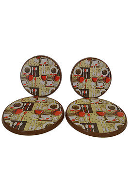Set 4 Coffee Beans Espresso Cafe Burner Stove Top Covers Cover Kitchen Decor
