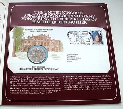 UK 1980 Queen Mother 80th Birthday Addressed Crown Coin & Stamp Cover In Folder