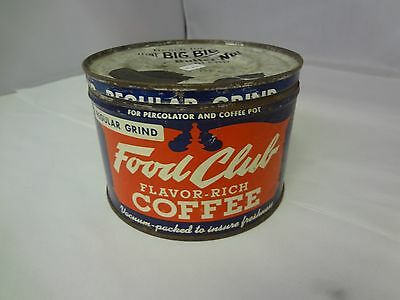 Vintage  Food Club Brand Coffee Tin Advertising Collectible M-26