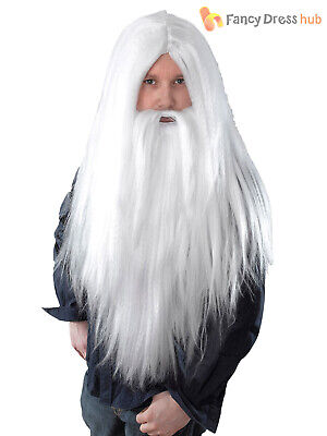 Adults Long White Wig Beard Santa Wizard Gandalf Merlin Fancy Dress Christmas