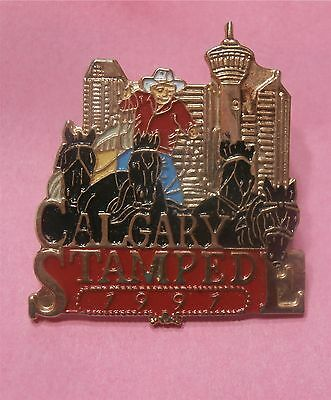 Calgary Stampede Cowboy with 4 Horses in front of Calgary Skyline 1989 Lapel Pin