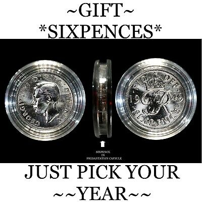 *Birthday* Lucky Sixpence, 1947 To 1967 *Ideal Small Birthday Gifts*