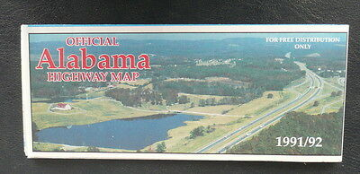 1991 1992 Alabama official highway road  map