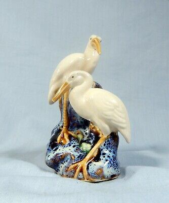 Vintage Chinese porcelain cranes stock egrets pair retired hand painted 1950s