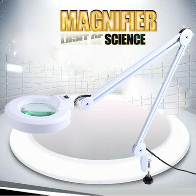 New Desk Clamp Adjustable Magnifying Lamp 5 Diopter Round Glass 22W LED