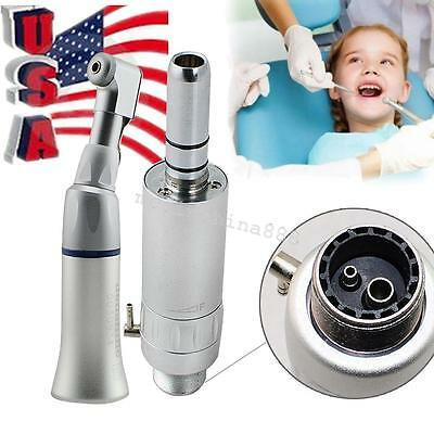 Dental Slow Low Speed handpiece kit Wrench Contra Angle + Air Motor 2 hole USA