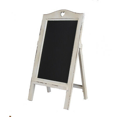 New White Wooden Rustic Vintage Chalkboard with White Heart Easel Rack Blackboar