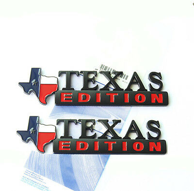 2x OEM Texas Edition Emblem Badge Tacoma Tundra Ford Chevy Dodge TRD Black