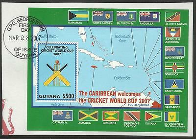 GUYANA 2007 ICC CRICKET WORLD CUP FLAGS MAP Souvenir Sheet FINE USED on piece